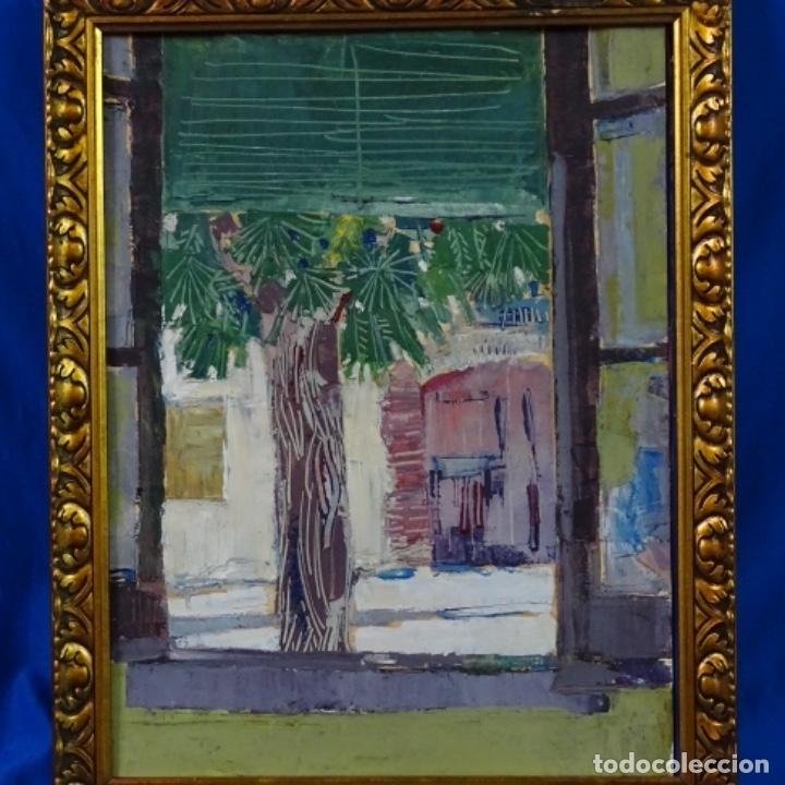 Arte: Oleo sobre papel de Joan capella arenas.vista a través de la ventana.gran calidad. - Foto 12 - 176606520