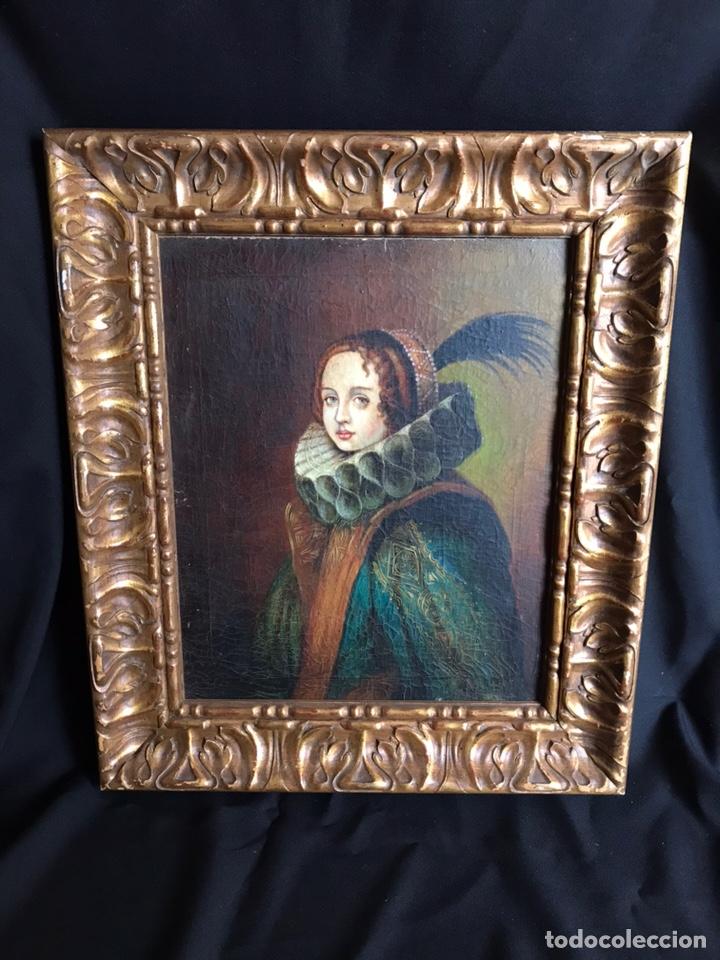Arte: Retrato de Dama con Gorguera del S XIX, 47cmx55cm (marco) óleo sobre lienzo - Foto 2 - 176701495