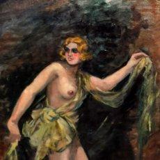 Arte: PERE YSERN ALIÉ (BARCELONA, 1875 – 1946) OLEO SOBRE TELA Y ADHERIDO A TABLEX. RETRATO SEMIDESNUDO. Lote 69823921