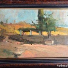 Arte: OLEO ESTUDIO SOBRE TABLA, PAISAJE LA FOSCA, 32X21 CM. FRANCESC TORRESCASSANA. Lote 176742115