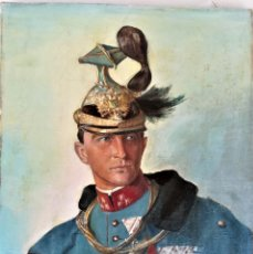 Arte: PINTURA,OLEO EN TELA,SIGLO XIX,CAPITAN DRAGONES DE CABALLERIA EJERCITO ESPAÑOL?UNIFORME GALA,MEDALLA. Lote 176765399