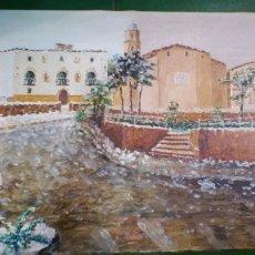 Arte: PINTURA AL OLEO, SOBRE LIENZO PLAZA LA ERA DEL CASTELL MORELL. DE PERE CORTINA. Lote 176769155