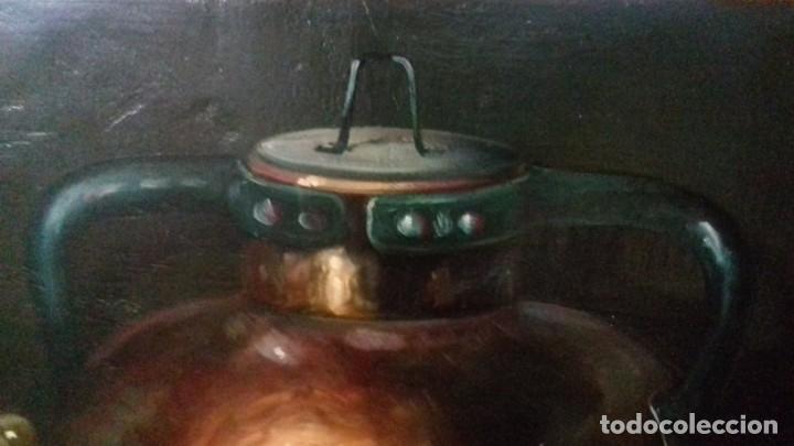 Arte: ENRIQUE MONTES. OLEO SOBRE TABLA (49X34,5). MARCO DE REGALO. BODEGON DE UVAS. - Foto 3 - 176841230