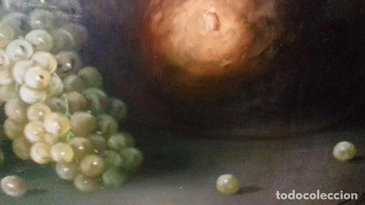 Arte: ENRIQUE MONTES. OLEO SOBRE TABLA (49X34,5). MARCO DE REGALO. BODEGON DE UVAS. - Foto 5 - 176841230