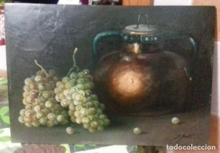 ENRIQUE MONTES. OLEO SOBRE TABLA (49X34,5). MARCO DE REGALO. BODEGON DE UVAS. (Arte - Pintura - Pintura al Óleo Contemporánea )