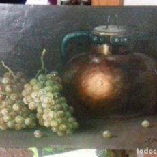 Arte: ENRIQUE MONTES. OLEO SOBRE TABLA (49X34,5). MARCO DE REGALO. BODEGON DE UVAS.. Lote 176841230
