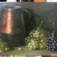 Arte: ENRIQUE MONTES. OLEO SOBRE TABLA (49X34,5). MARCO DE REGALO. BODEGON DE UVAS.. Lote 176842550