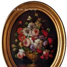 Arte: GARRI O CARRIY ?- FLORES (4) - CUADRO OVALADO DE ÓLEO SOBRE TABLERO ENMARCADO EN MADERA DORADA. Lote 176847242