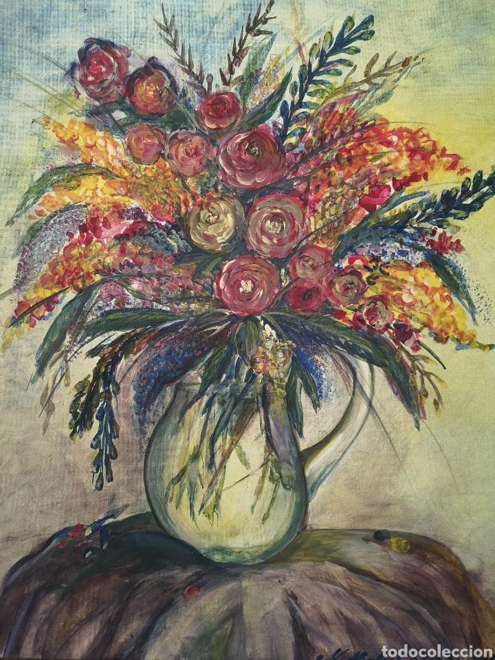 Arte: FLORERO PINTADO AL OLEO SOBRE LIENZO, FIRMADO, ENMARCADO. 71X87CM - Foto 2 - 176850549