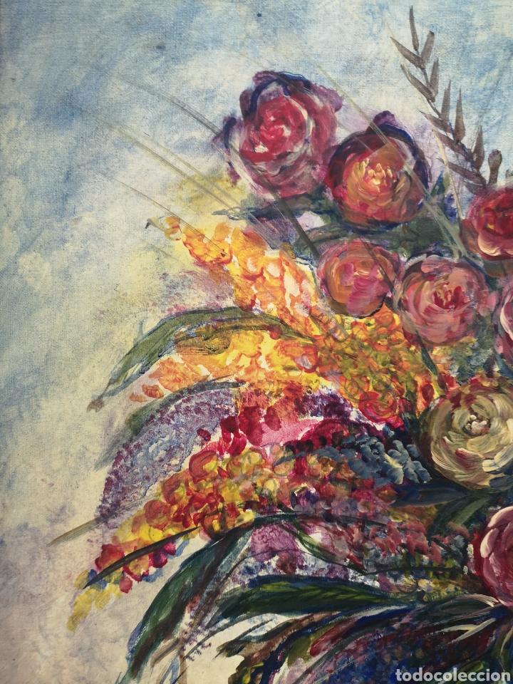 Arte: FLORERO PINTADO AL OLEO SOBRE LIENZO, FIRMADO, ENMARCADO. 71X87CM - Foto 4 - 176850549