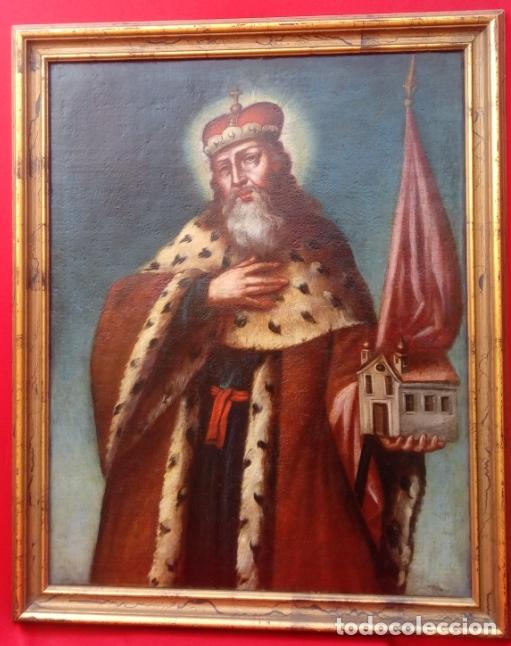 ÓLEO S/LIENZO -SAN ESTEBAN DE HUNGRÍA-. ESCUELA ITALIANA S. XVII. DIM.- 85X69 CMS CON MARCO. (Arte - Pintura - Pintura al Óleo Antigua siglo XVII)