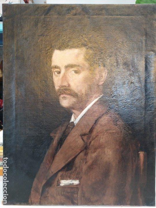 ÓLEO EN LIENZO DE UN CABALLERO DE FINALES DEL SIGLO XIX ESCUELA VALENCIANA (Arte - Pintura - Pintura al Óleo Moderna siglo XIX)