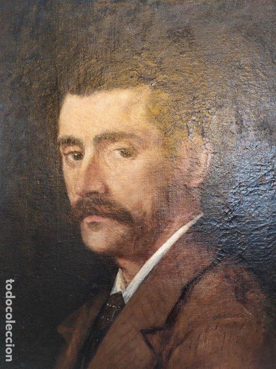 Arte: óleo en lienzo de un caballero de finales del siglo XIX escuela valenciana - Foto 2 - 176865679