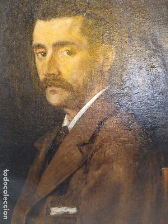 Arte: óleo en lienzo de un caballero de finales del siglo XIX escuela valenciana - Foto 3 - 176865679