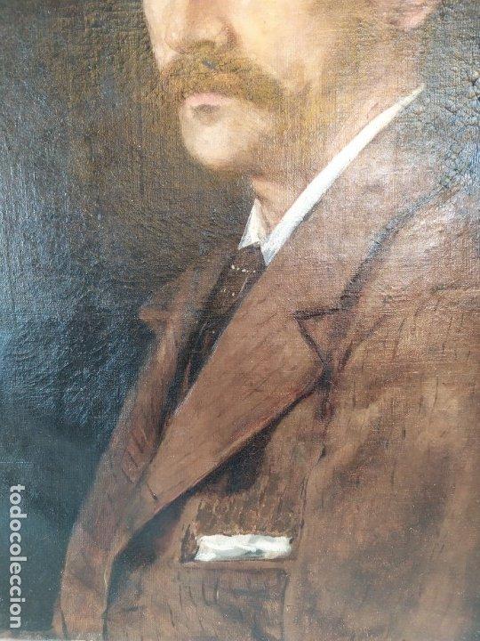 Arte: óleo en lienzo de un caballero de finales del siglo XIX escuela valenciana - Foto 5 - 176865679