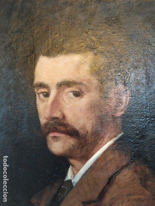 Arte: óleo en lienzo de un caballero de finales del siglo XIX escuela valenciana - Foto 6 - 176865679