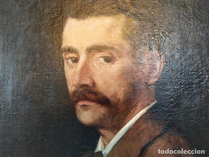 Arte: óleo en lienzo de un caballero de finales del siglo XIX escuela valenciana - Foto 7 - 176865679