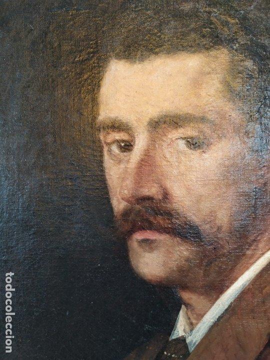 Arte: óleo en lienzo de un caballero de finales del siglo XIX escuela valenciana - Foto 8 - 176865679