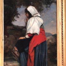 Arte: CÍRCULO DE THOMAS KENT PELHAM S XIX,' GYPSY GIRL' ÓLEO SOBRE LIENZO, 74X119X8 (MARCO). Lote 176878460