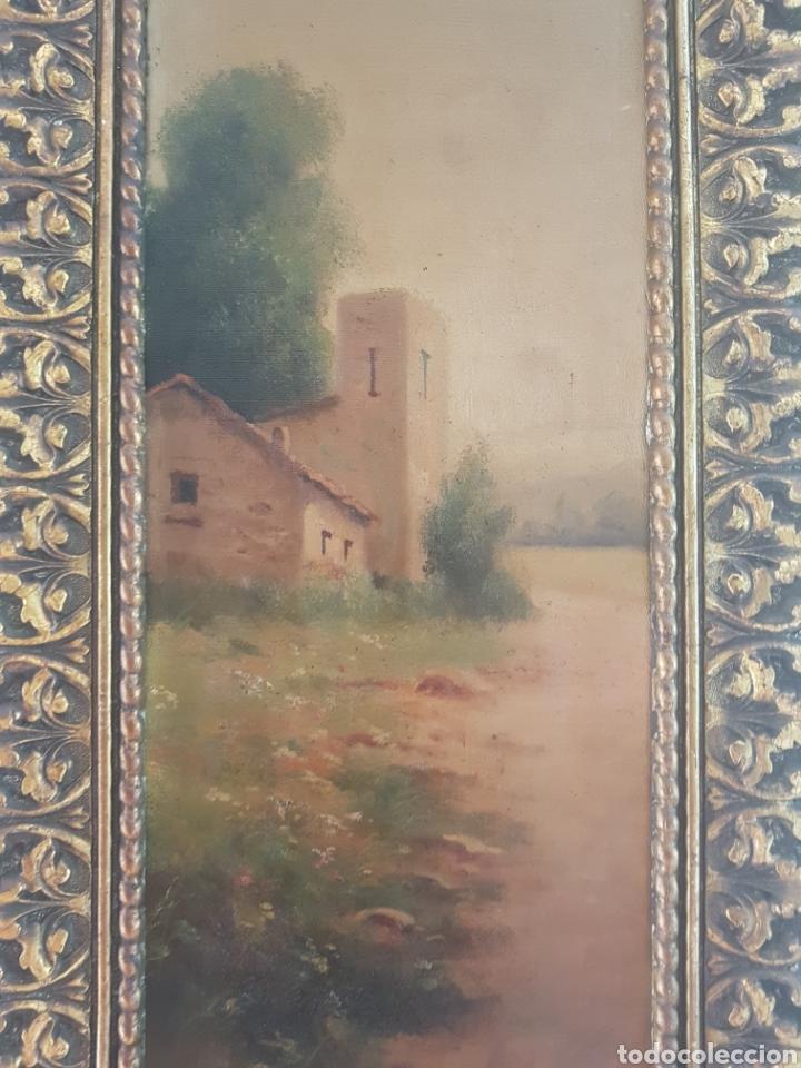 Arte: Urgellés (XIX) - Paisaje con Masía.Escaleta.Oleo/tela.Firmado. - Foto 2 - 176866145