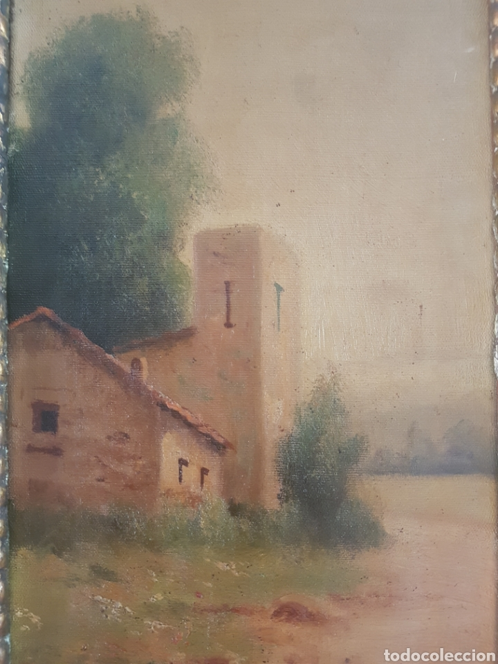 Arte: Urgellés (XIX) - Paisaje con Masía.Escaleta.Oleo/tela.Firmado. - Foto 3 - 176866145