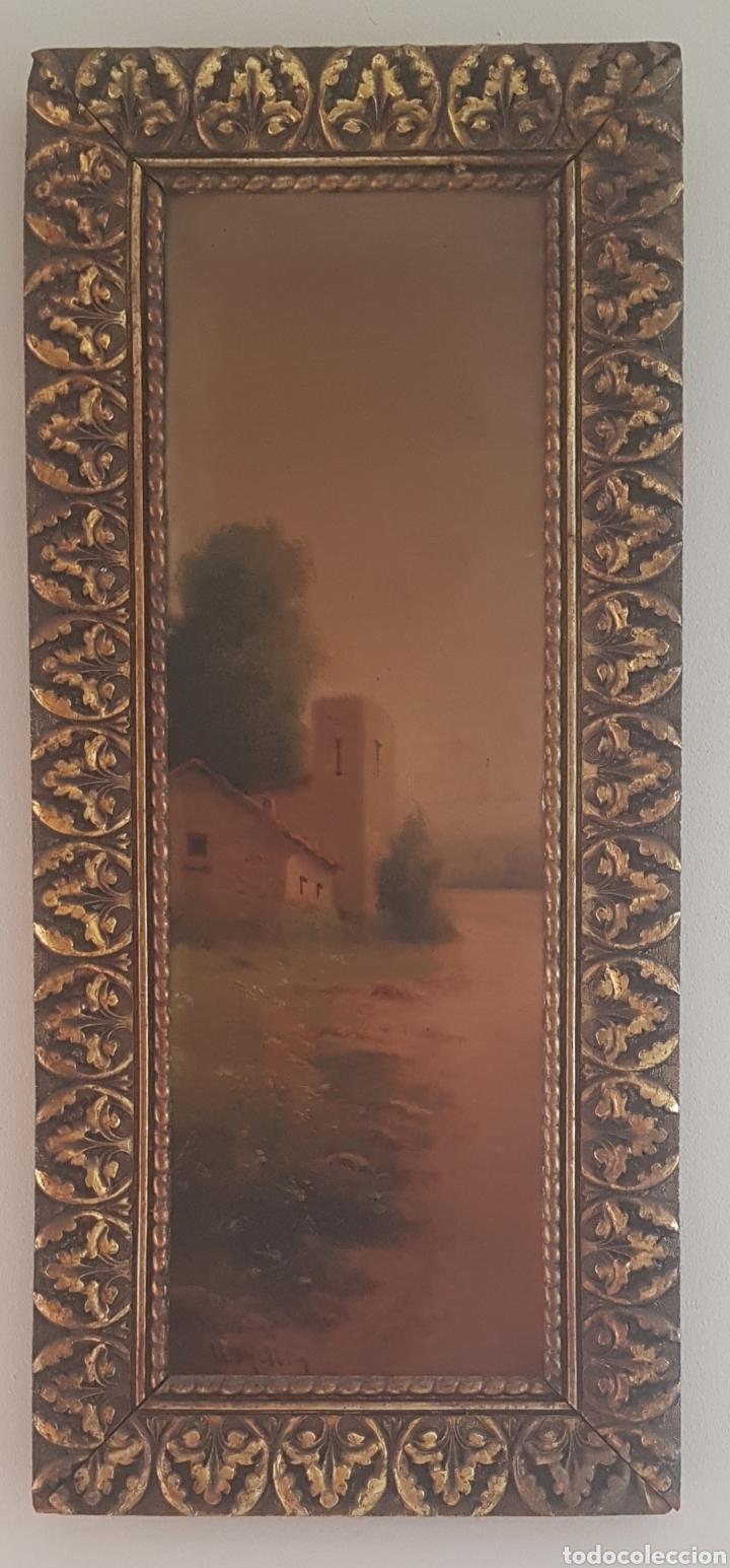 URGELLÉS (XIX) - PAISAJE CON MASÍA.ESCALETA.OLEO/TELA.FIRMADO. (Arte - Pintura - Pintura al Óleo Moderna siglo XIX)