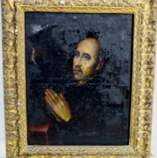 Arte: ÓLEO SOBRE TELA- SANTO REZANDO - S XVIII - CON MARCO: 70 CM X 83 CM. Lote 176909658