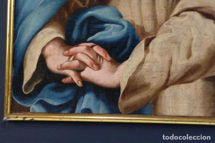 Arte: Óleo sobre lienzo Virgen dolorosa finales siglo XVIII principios siglo XIX - Foto 6 - 176974020