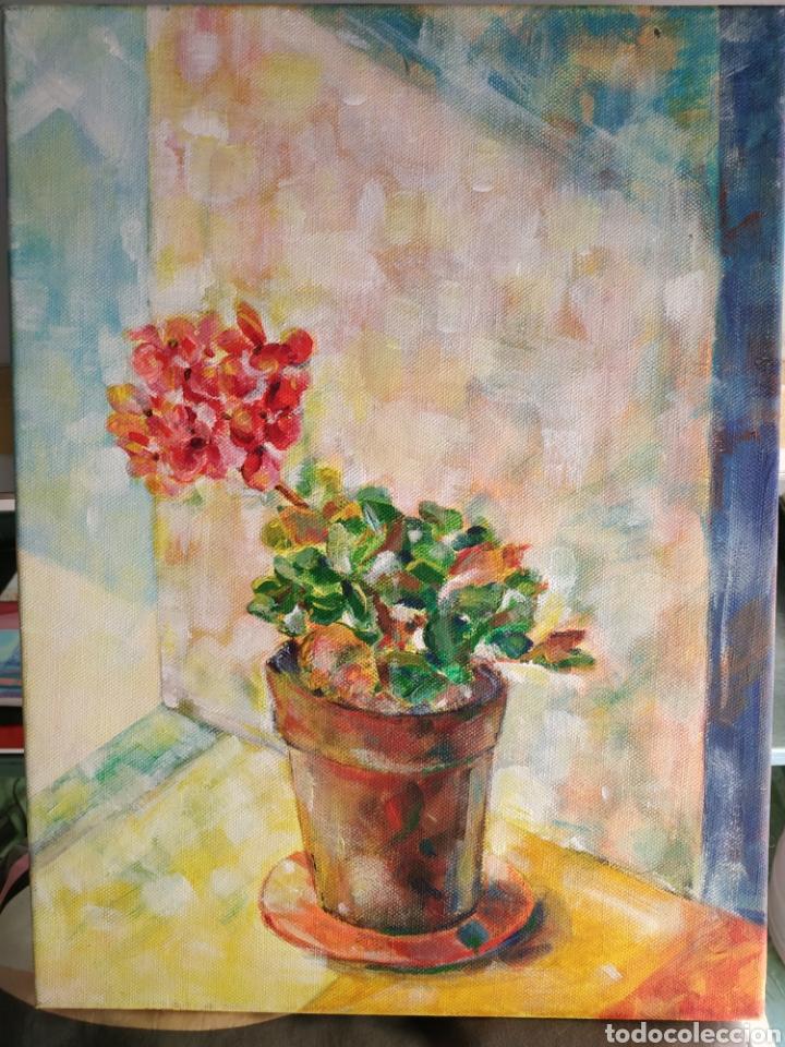 Arte: Pintura original al acrílico, geranio. Firmada y fechada. - Foto 2 - 177027129