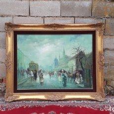 Arte: CUADRO PINTURA OLEO ESCENA CALLE PARISINA PARIS FIRMADO CARLOS BARBER EN MARCO DORADO ESTILO LUIS XV. Lote 177030267