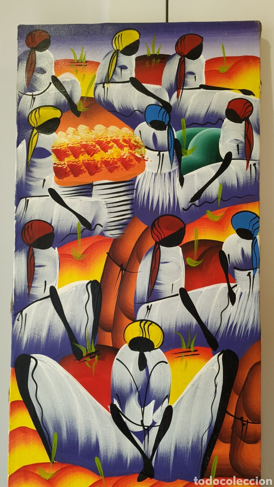 Arte: Óleo sobre lienzo étnico. Cuadro pintado lienzo. Óleo lienzo firmado. - Foto 2 - 177039088