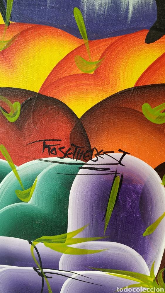 Arte: Óleo sobre lienzo étnico. Cuadro pintado lienzo. Óleo lienzo firmado. - Foto 6 - 177039088