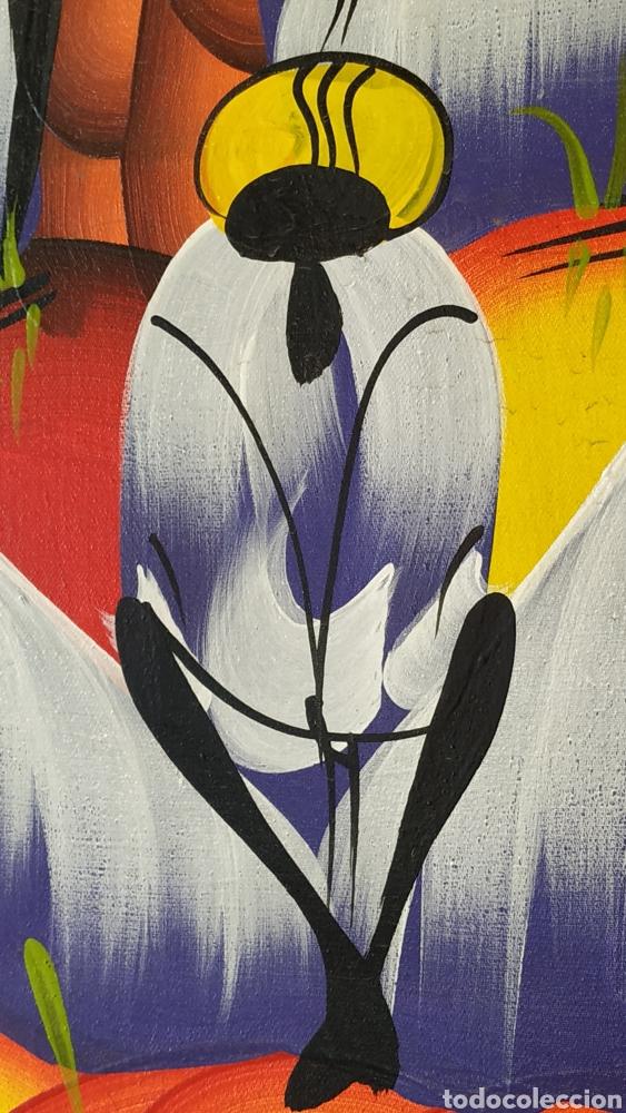 Arte: Óleo sobre lienzo étnico. Cuadro pintado lienzo. Óleo lienzo firmado. - Foto 7 - 177039088