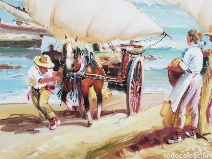 Arte: Precioso cuadro de pintura a mano firmada con marco de madera tema de playa estilo Sorolla - Foto 2 - 186310597