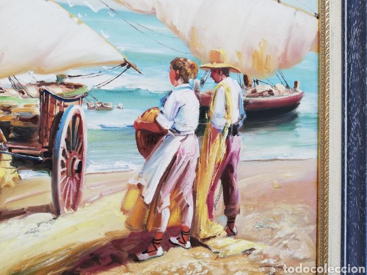 Arte: Precioso cuadro de pintura a mano firmada con marco de madera tema de playa estilo Sorolla - Foto 4 - 186310597