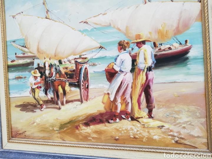 Arte: Precioso cuadro de pintura a mano firmada con marco de madera tema de playa estilo Sorolla - Foto 5 - 186310597