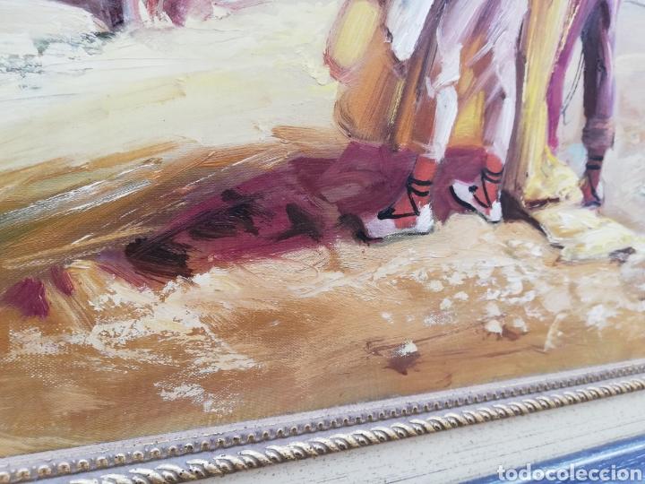 Arte: Precioso cuadro de pintura a mano firmada con marco de madera tema de playa estilo Sorolla - Foto 6 - 186310597