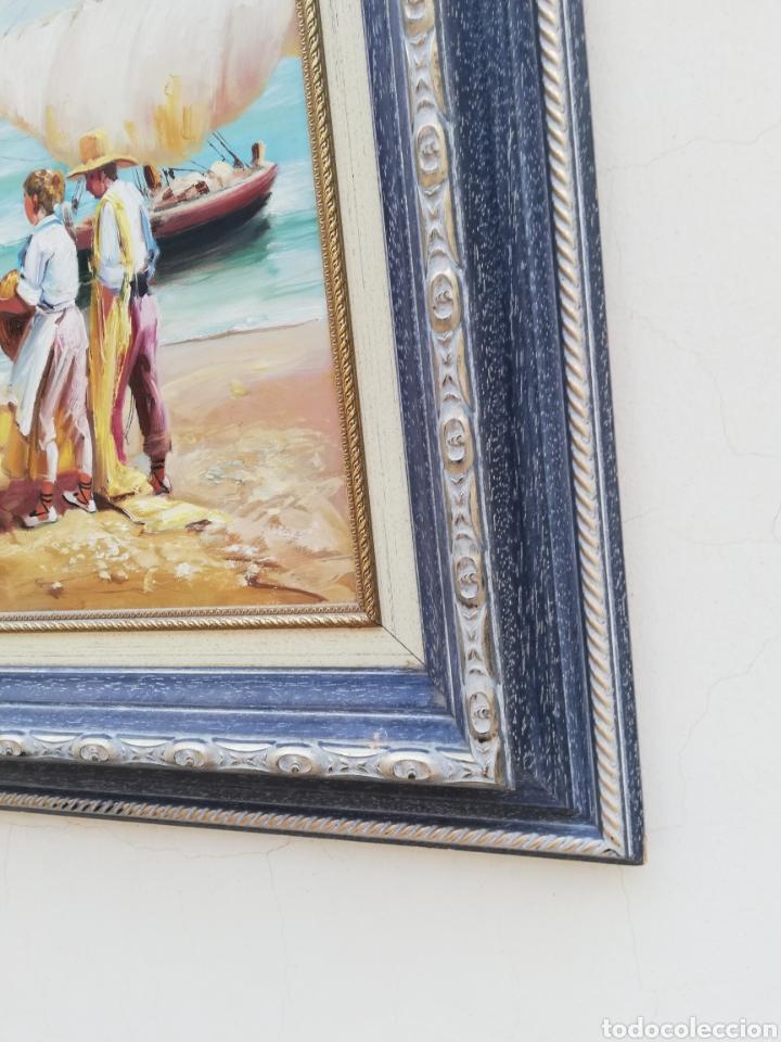 Arte: Precioso cuadro de pintura a mano firmada con marco de madera tema de playa estilo Sorolla - Foto 7 - 186310597