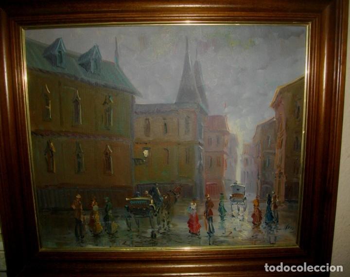 OLEO IMPRESIONISTA SOBRE LIENZO FIRMADO ¿ CON MARCO (( MIDE 66 X 57 CTMS ))) (Arte - Pintura - Pintura al Óleo Contemporánea )