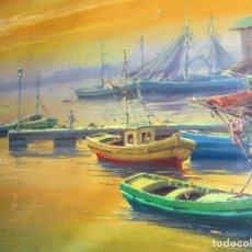 Arte: ENORME CUADRO OLEO SOBRE LIENZO PESCADORES EN PUERTO DE BARCELONA . Lote 177078133
