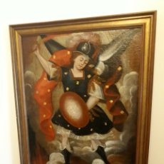Arte: ESCUELA COLONIAL SIGLO XVIII. SAN MIGUEL. OLEO SOBRE LIENZO. Lote 177094885