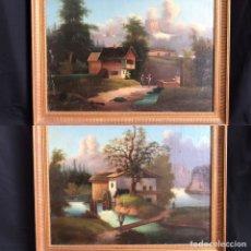 Arte: PAISAJES ALPINOS, ESCUELA FRANCO-SUIZA S XVIII, 1771, 2 PINTURAS DE 78CM X68CM (MARCO) CADA UNA. Lote 177255404