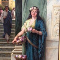 Arte: ' LAST DAYS OF POMPEII' ROBERT RAMSAY RUSSELL, FIRMADO, ÓLEO-LIENZO S XIX, 51CM X 71CM ( MARCO ). Lote 177277743