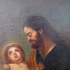 Arte: ÓLEO S/LIENZO -SAN JOSÉ CON EL NIÑO-. ESCUELA BARROCA SEVILLANA S. XVII. DIM.- 70X58.5 CMS. Lote 177297373