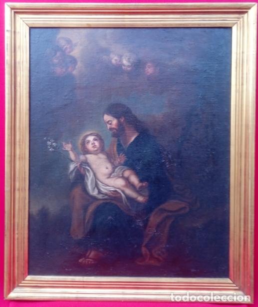 Arte: ÓLEO S/LIENZO -SAN JOSÉ CON EL NIÑO-. ESCUELA BARROCA SEVILLANA S. XVII. DIM.- 70X58.5 CMS - Foto 2 - 177297373