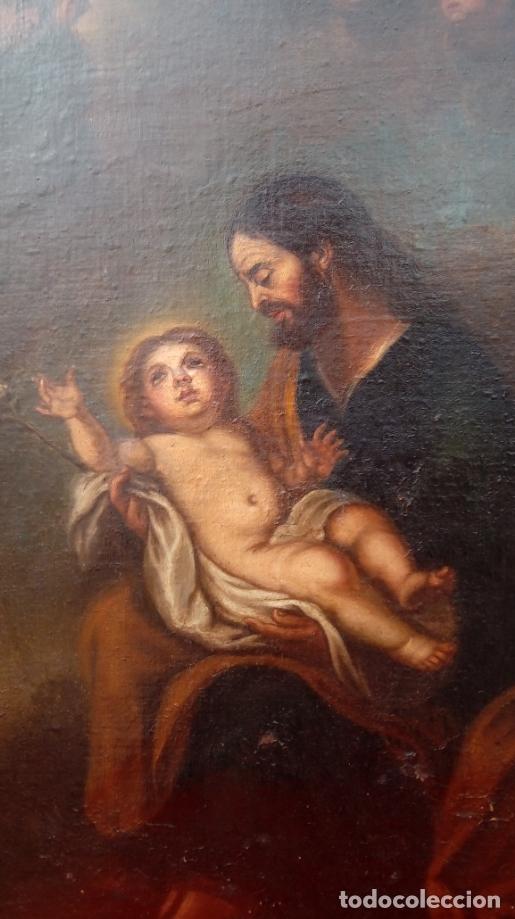 Arte: ÓLEO S/LIENZO -SAN JOSÉ CON EL NIÑO-. ESCUELA BARROCA SEVILLANA S. XVII. DIM.- 70X58.5 CMS - Foto 4 - 177297373