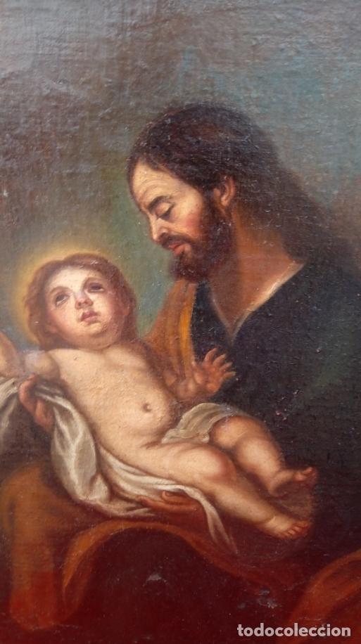 Arte: ÓLEO S/LIENZO -SAN JOSÉ CON EL NIÑO-. ESCUELA BARROCA SEVILLANA S. XVII. DIM.- 70X58.5 CMS - Foto 6 - 177297373