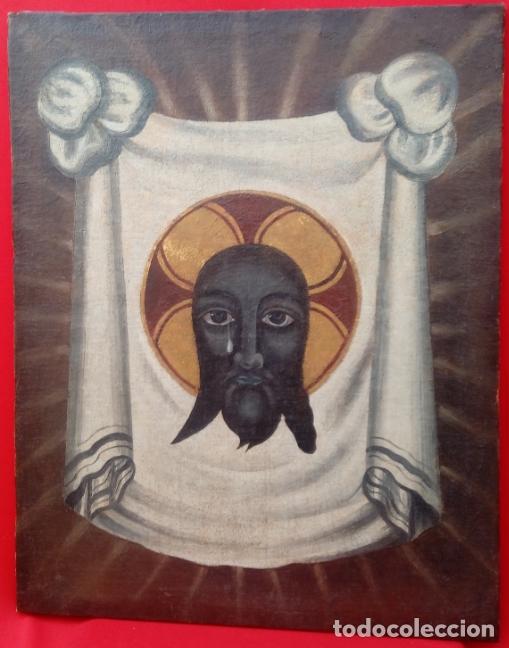 ÓLEO S/LIENZO -SANTA FAZ-. ESCUELA ESPAÑOLA S. XVI. DIM.- 56X44 CMS. (Arte - Pintura - Pintura al Óleo Antigua siglo XVI)