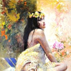 Arte: JOSE MARIA MIRALLES (BARCELONA, 1937) OLEO SOBRE TABLA. UNA JOVEN. Lote 177305904