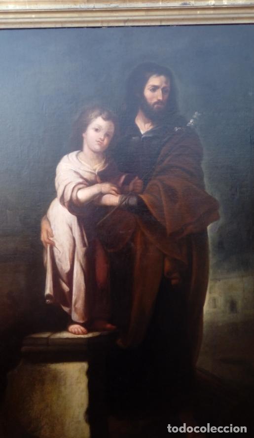 ÓLEO S/LIENZO -SAN JOSÉ CON EL NIÑO-. ESC BARROCA SEVILLANA S. XVII, CÍRCULO MURILLO. 135.5X96 CMS (Arte - Pintura - Pintura al Óleo Antigua siglo XVII)